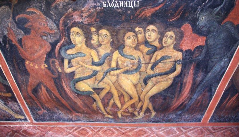 Fresco da cena das mulheres dos diabos do inferno imagens de stock