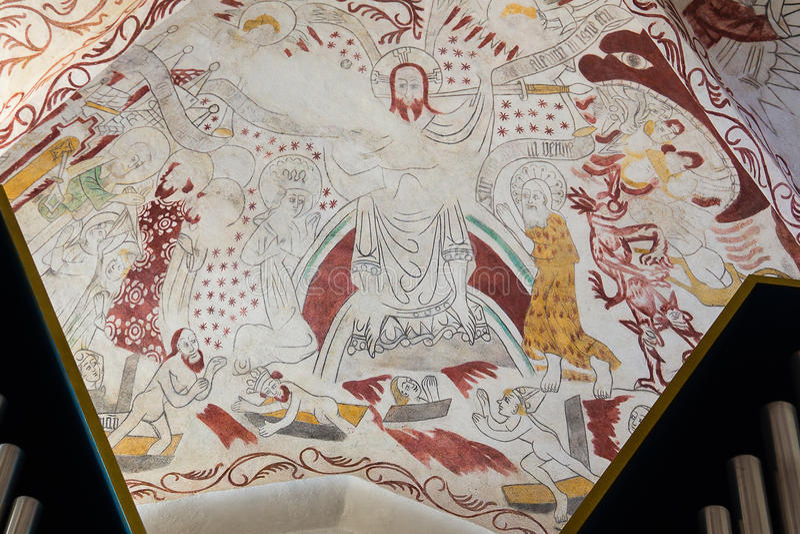 Fresco de Cristo no dia do Juízo Final, imagem de stock royalty free