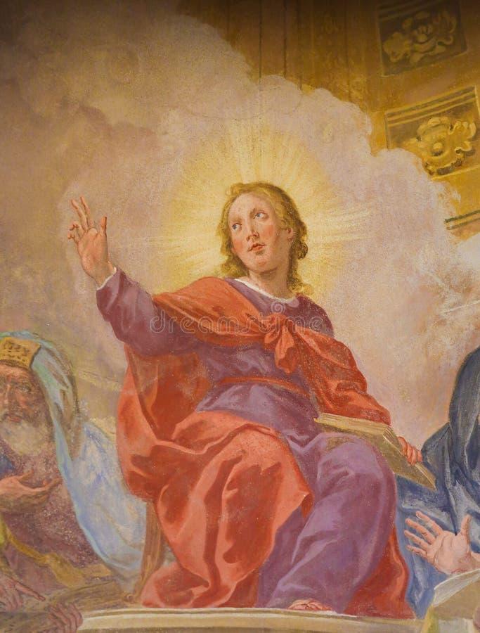 Fresco de Jesús en el templo en Loreta, Praga foto de archivo libre de regalías