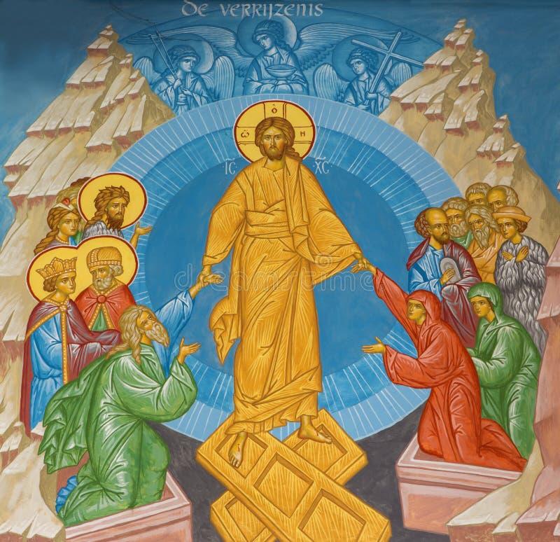 Fresco de Jesus Christ en el cielo en iglesia del st Constanstine y del orthodx de Helena foto de archivo