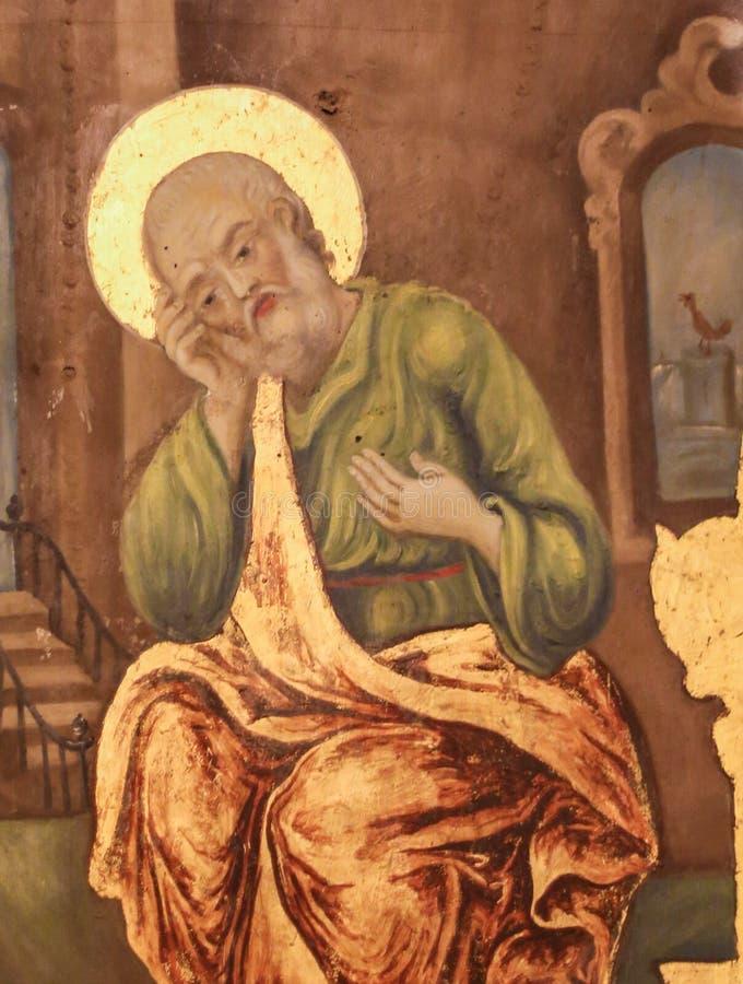 Fresco de St Peter na igreja do sepulcro santamente, Jerusalém fotos de stock royalty free