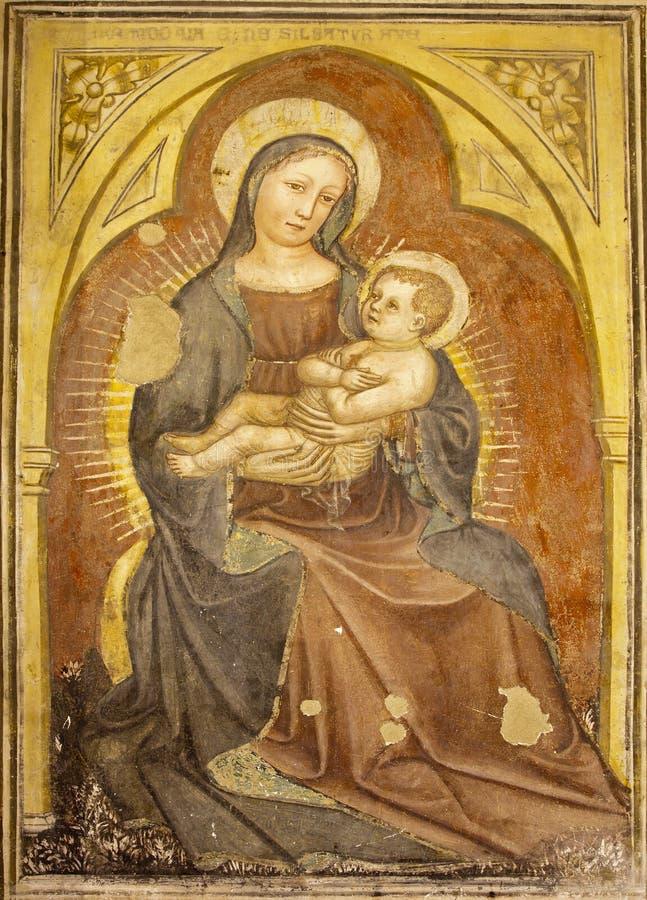 Fresco de Verona - de Madonna a partir del 12. -. centavo 15. por el autor del anónimo en Basilica di San Zeno fotos de archivo libres de regalías