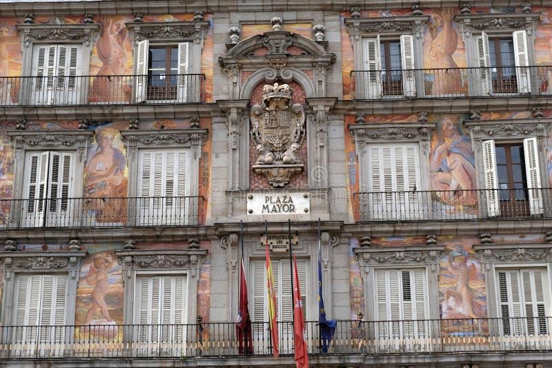 Fresco del alcalde de la plaza en Madrid fotografía de archivo libre de regalías