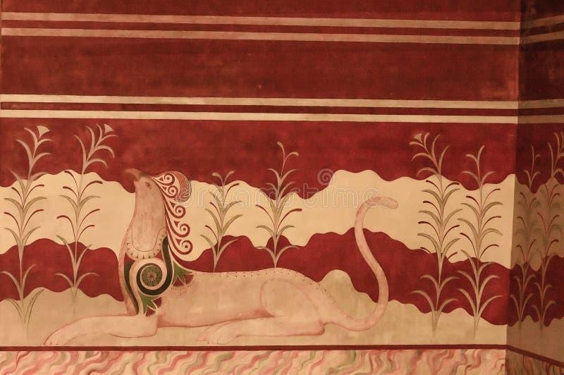 Fresco del palacio de Minoan foto de archivo