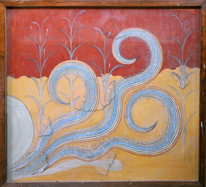Fresco del pulpo de Minoan imagen de archivo