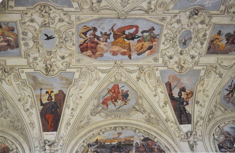 Fresco del techo de la logia del palacio de Wallenstein de Praga en República Checa fotos de archivo libres de regalías