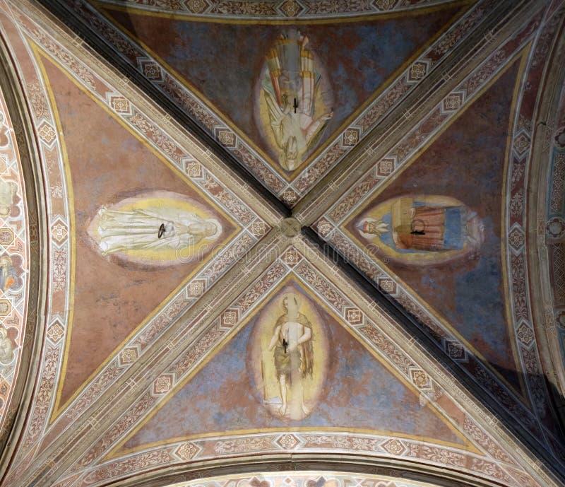 Fresco del techo en la iglesia de Orsanmichele en Florencia imagen de archivo