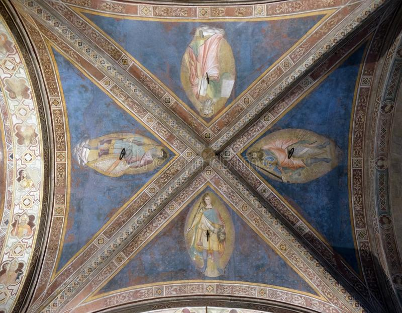 Fresco del techo en la iglesia de Orsanmichele en Florencia foto de archivo