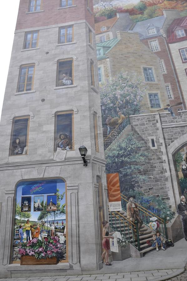 Fresco details from Parc Cetiere Old Quebec City in Canada. Fresque des Quebecois is a mural story of Old Quebec City in Canada on 28th June 2017 stock photography