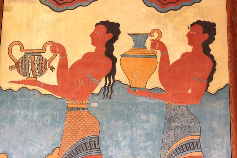 Fresco do palácio de Knossos foto de stock royalty free