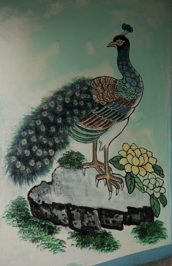Fresco do pavão foto de stock royalty free