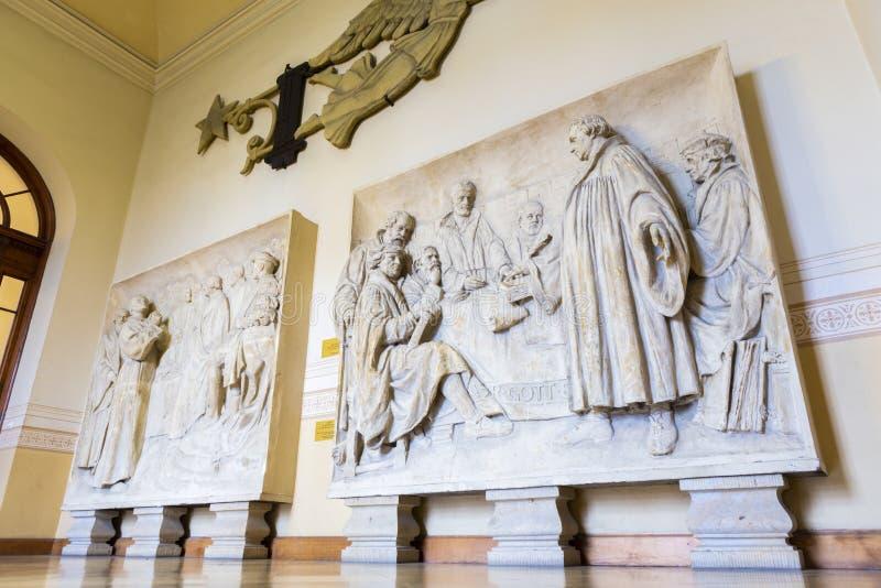 Fresco dos con escena religiosa dentro de Berlin Dome foto de archivo