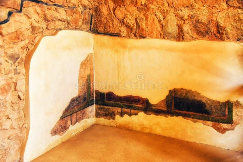Fresco e emplastro na parede em Resid?ncia do comandante constru?da pelo rei Herod o grande fotos de stock