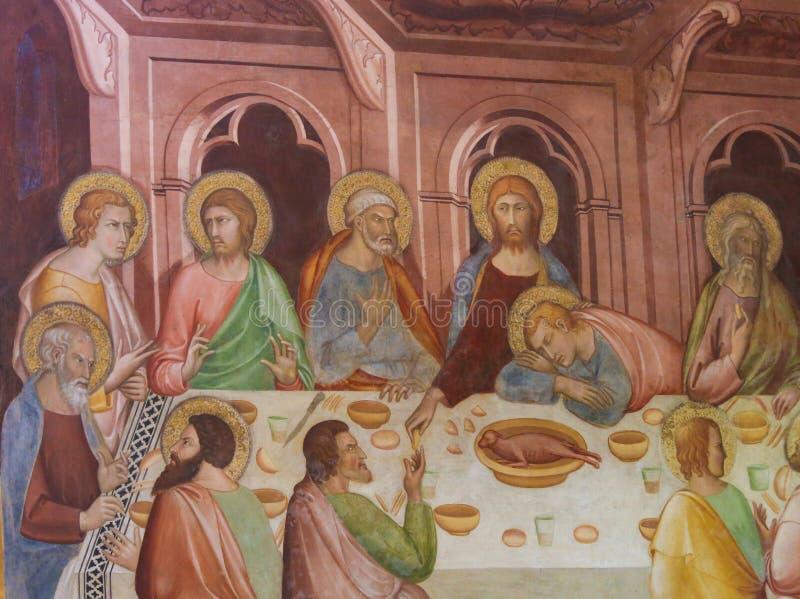 Fresco em San Gimignano - última ceia fotografia de stock