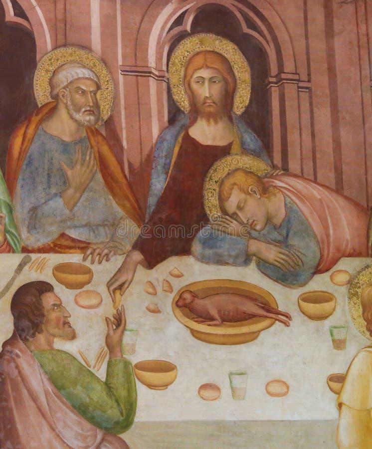 Fresco em San Gimignano - última ceia fotos de stock royalty free