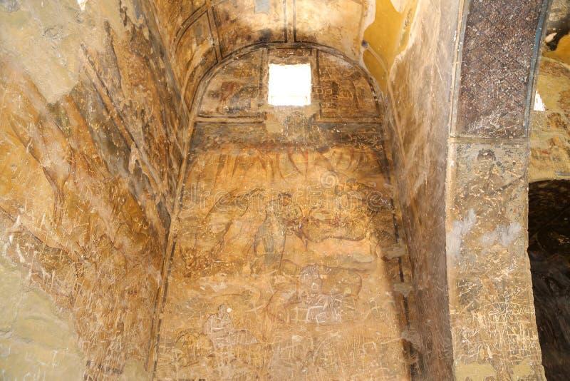Fresco en el castillo del desierto de Quseir (Qasr) Amra cerca de Amman, Jordania foto de archivo