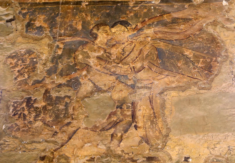 Fresco en el castillo del desierto de Quseir (Qasr) Amra cerca de Amman, Jordania imágenes de archivo libres de regalías
