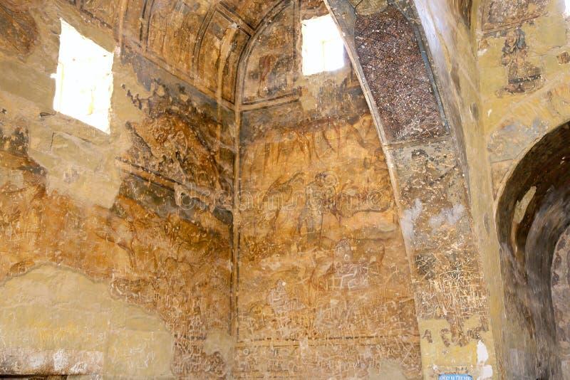 Fresco en el castillo del desierto de Quseir (Qasr) Amra cerca de Amman, Jordania imagen de archivo