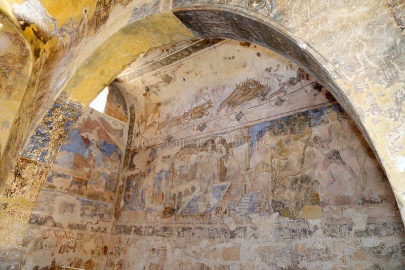 Fresco en el castillo del desierto de Quseir (Qasr) Amra cerca de Amman, Jordania fotos de archivo libres de regalías