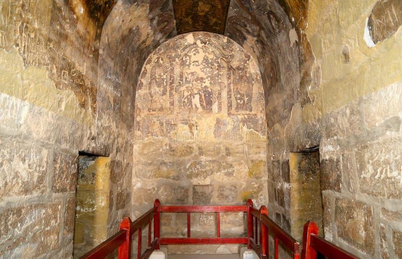 Fresco en el castillo del desierto de Quseir (Qasr) Amra cerca de Amman, Jordania imagen de archivo libre de regalías