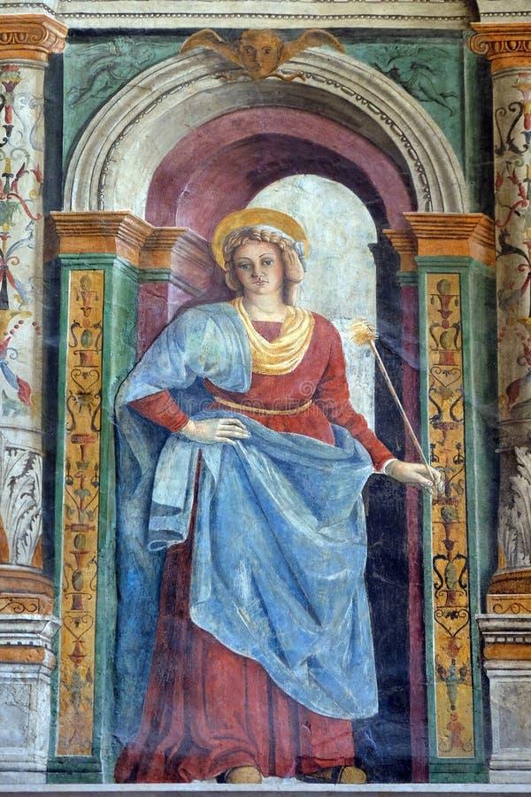 Fresco en la catedral dedicada a la Virgen María bendecida bajo designación en Verona foto de archivo libre de regalías