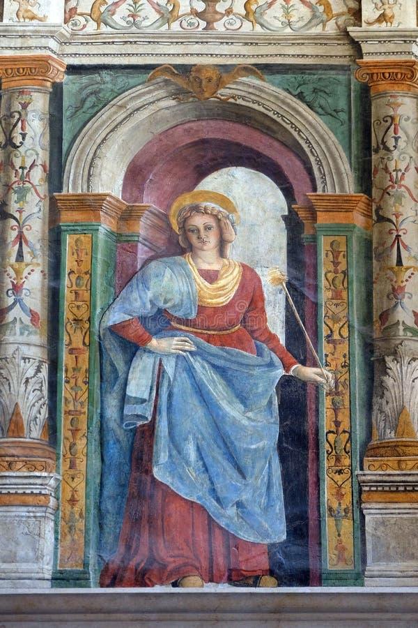 Fresco en la catedral dedicada a la Virgen María bendecida bajo designación en Verona imagen de archivo libre de regalías