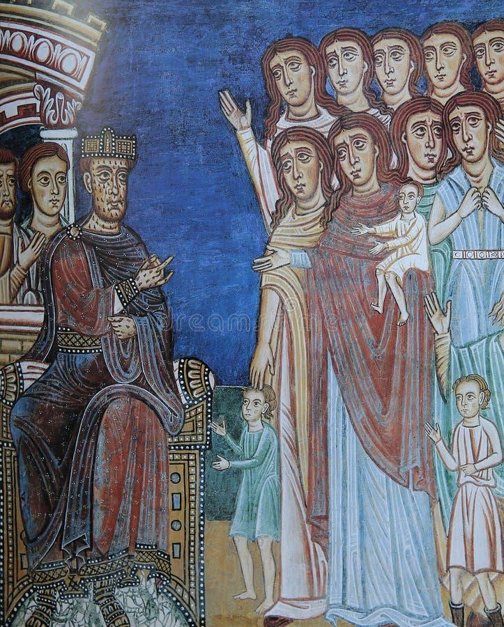 Fresco en los di Santa Cecilia de la basílica en Trastevere, Roma, Italia fotos de archivo