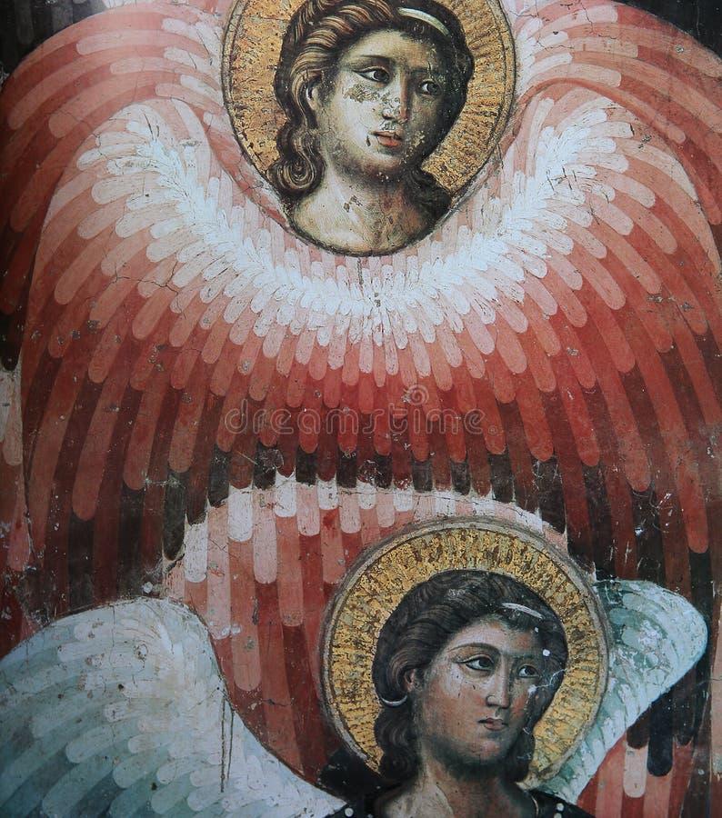 Fresco en los di Santa Cecilia de la basílica en Trastevere, Roma, Italia imagenes de archivo
