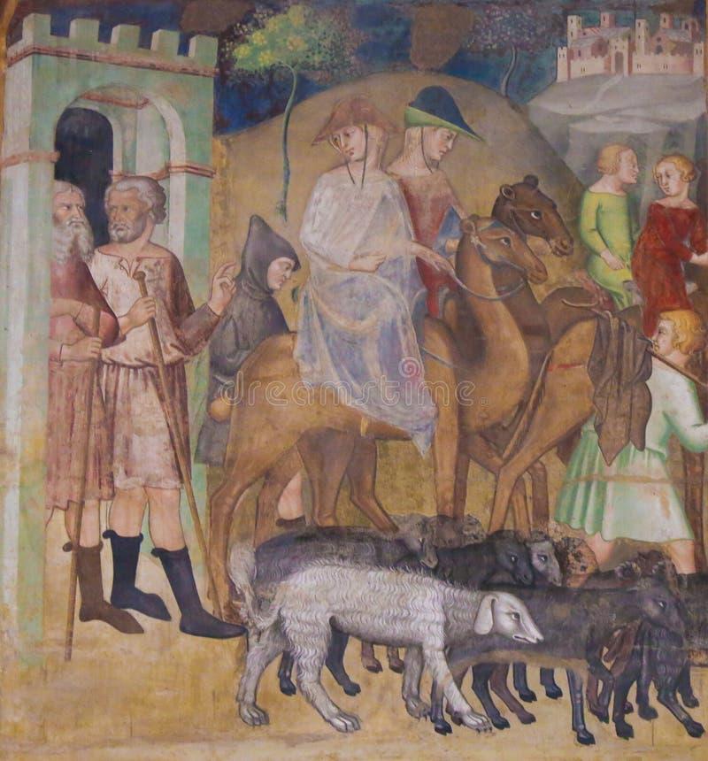 Fresco en San Gimignano - Abraham y la porción fotografía de archivo libre de regalías