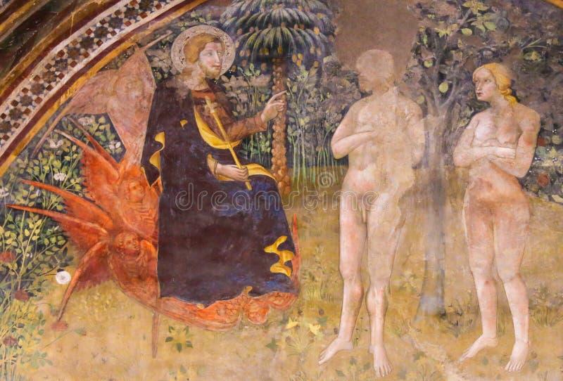Fresco en San Gimignano - Jesús, Adán y Eva en el jardín de E fotos de archivo libres de regalías