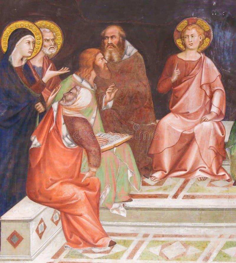 Fresco en San Gimignano - Jesús en el templo imágenes de archivo libres de regalías
