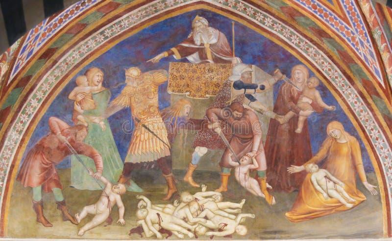 Fresco en San Gimignano - masacre de los Innocents foto de archivo libre de regalías