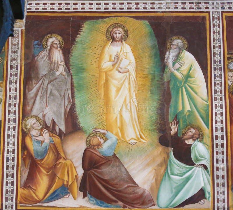 Fresco en San Gimignano - resurrección de Jesús imagen de archivo libre de regalías