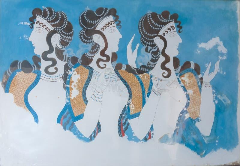 Fresco envejecido de tres perfiles de las mujeres imagen de archivo libre de regalías