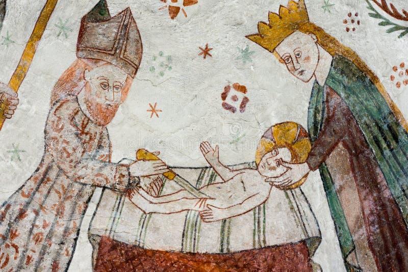 Fresco gótico de la circuncisión de Jesús del sacerdote Zachari fotografía de archivo