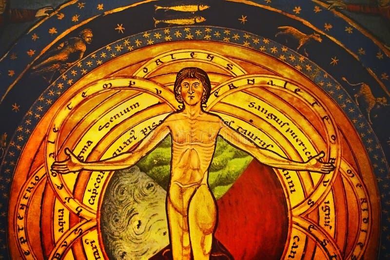 Fresco gótico do último julgamento fotografia de stock royalty free