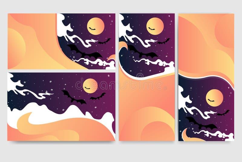 Fresco helloween el sistema de las banderas para el web stock de ilustración