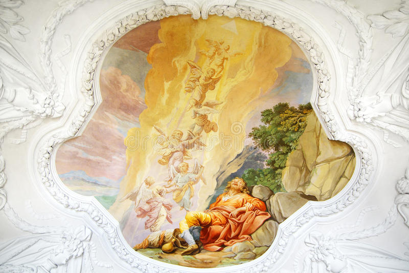 Fresco i St. Peter och Paul kyrka i den Melk abbeyen royaltyfri foto