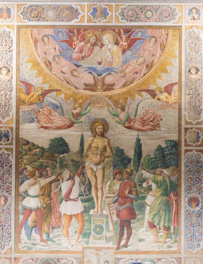 Free Fresco In San Gimignano - Martyrdom Of St Sebastian Stock Images - 100536554