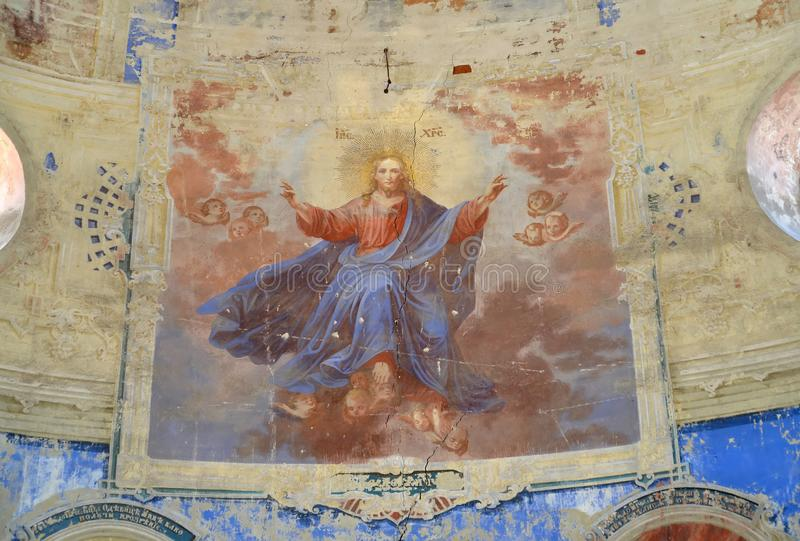 Fresco Jesus Christ. Church of the Fedorovsky icon of the Mother of God. Uglich, Yaroslavl region royalty free stock images