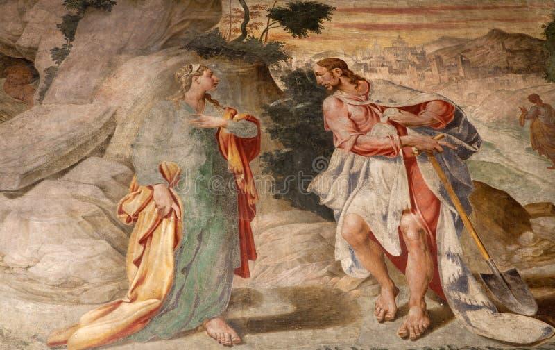 fresco jesus magdalene mary milan fotografering för bildbyråer
