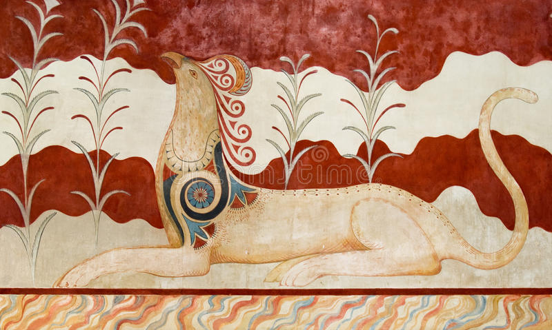 Fresco at Knossos Archeological Site in Crete stock images