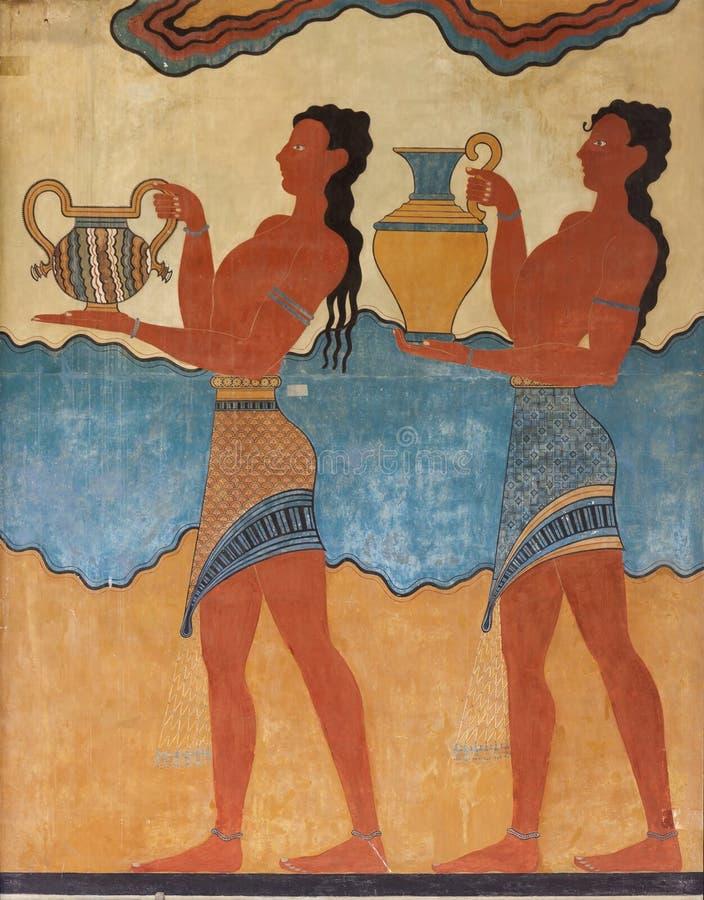 Fresco minoan antiguo de Knossos, Creta imágenes de archivo libres de regalías