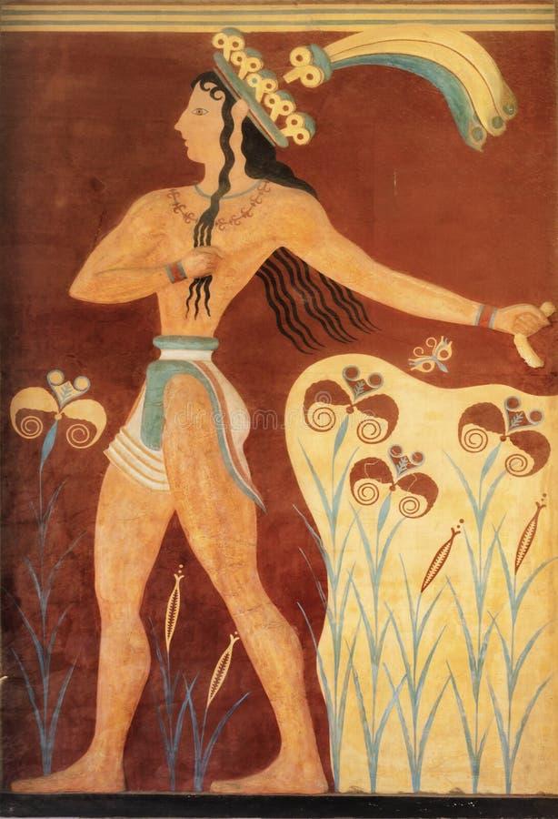 Fresco minoan antiguo de Knossos, Creta foto de archivo libre de regalías