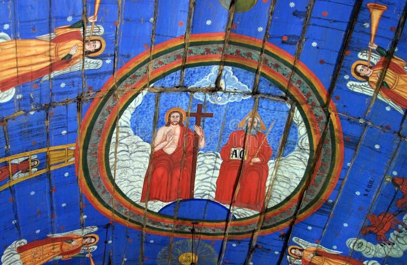 Fresco mural antiguo en Rumania imagen de archivo libre de regalías