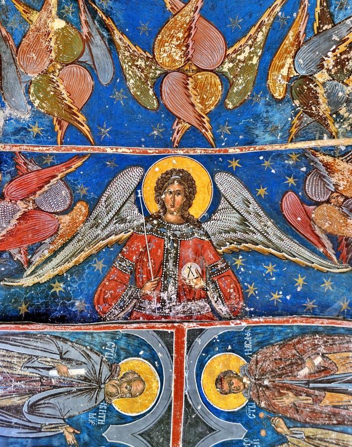 Fresco mural en el monasterio del humor foto de archivo