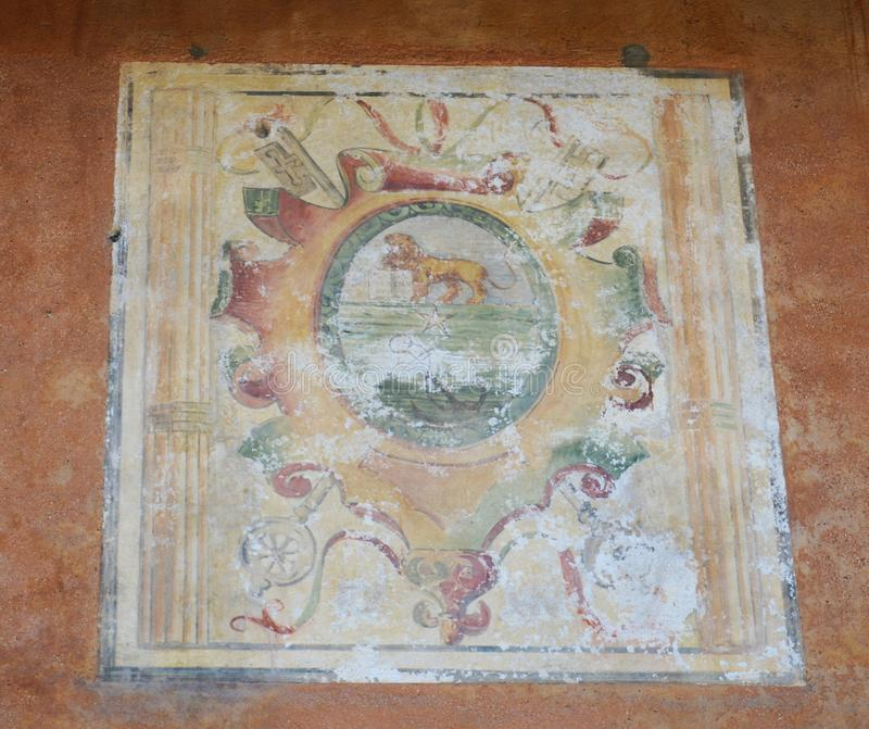Fresco mural painting in Asolo, Italy stock photos