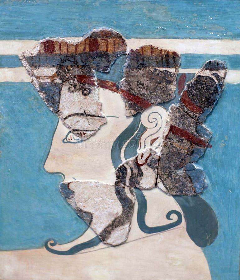 Fresco Mycenaean com a mulher do palácio mais atrasado de Tiryns, Grécia imagem de stock royalty free
