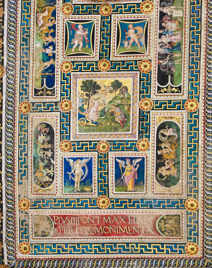 Fresco na biblioteca de Piccolomini, Siena fotos de stock