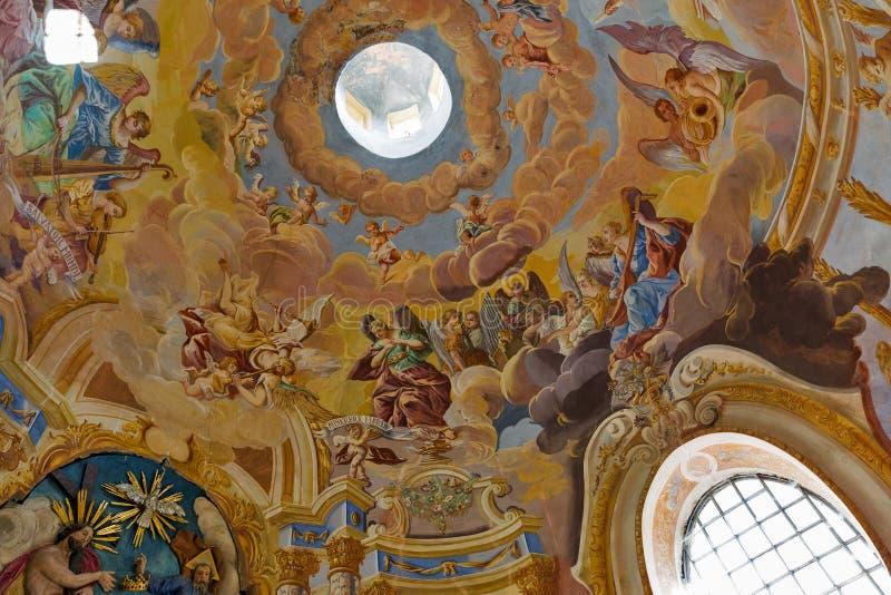 Fresco na igreja média do calvário Banska Stiavnica, Slovakia imagens de stock